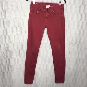 True Religion Casey Faded Red Skinny Jeans